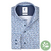 Wit stippenprint dobby organic cotton-stretch overhemd