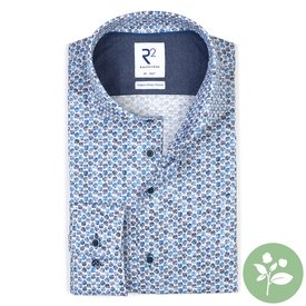 R2 Wit stippenprint dobby organic cotton-stretch overhemd
