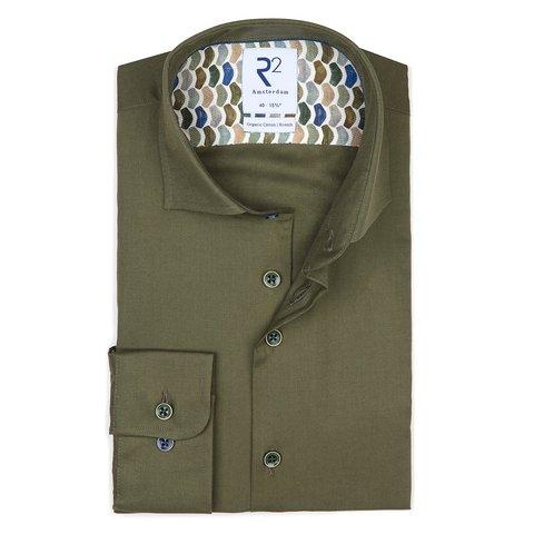 Green flanel katoenen overhemd