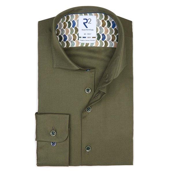 R2 Green flanel katoenen overhemd