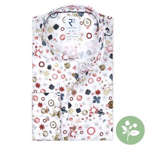 Wit fantasieprint organic cotton-stretch overhemd