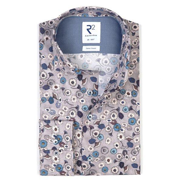 R2 Grijs bloemenprint katoen-stretch overhemd
