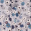 Grijs bloemenprint katoen-stretch overhemd