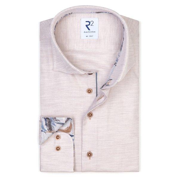 R2 Beige mélange katoenen overhemd
