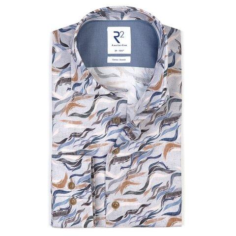 Wit fantasieprint katoen-stretch overhemd
