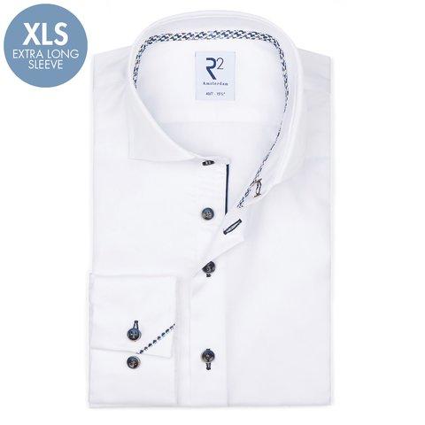 Extra lange mouwen. Wit 2-PLY katoenen overhemd