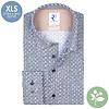 Extra lange mouwen. Wit stoelenprint dobby organic cotton stretch overhemd