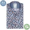 Extra lange mouwen. Wit stoelenprint organic cotton stretch overhemd