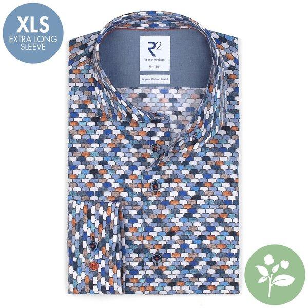 R2 Extra lange mouwen. Wit stoelenprint organic cotton stretch overhemd