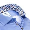Extra lange mouwen. Blauw pied de poule 2-PLY katoenen overhemd