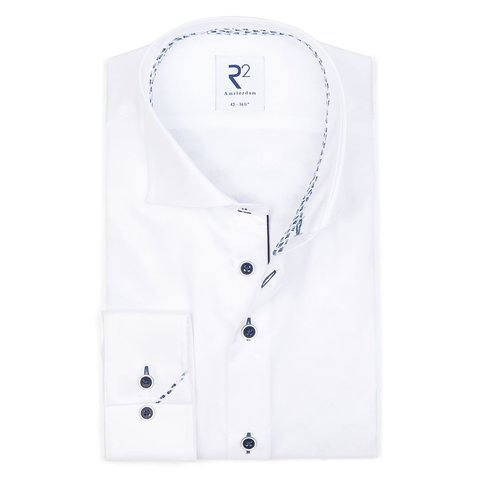 Wit 2 PLY katoenen overhemd
