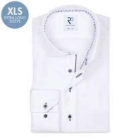 R2 Extra long sleeves. White 2-PLY cotton shirt.