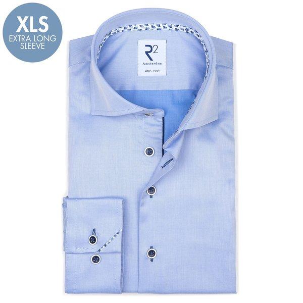 R2 Extra lange mouwen. Lichtblauw 2 PLY katoenen overhemd