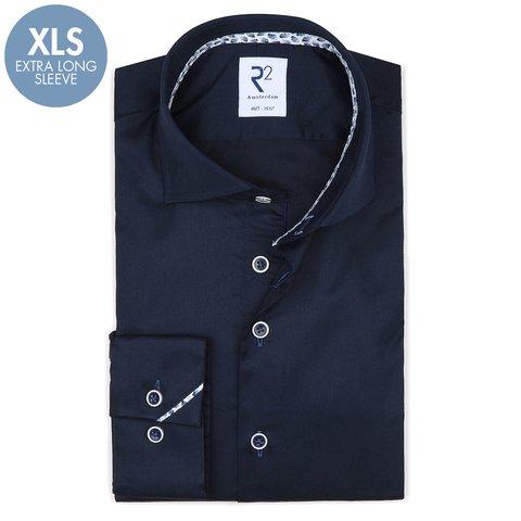 Extra lange mouwen. Donkerblauw 2 PLY katoenen overhemd