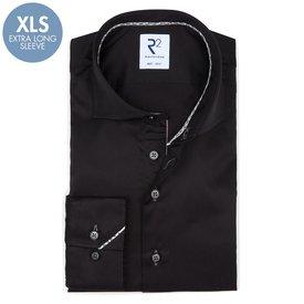 R2 Extra long sleeves. Black cotton shirt