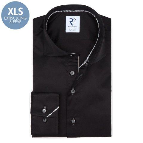 Extra lange mouwen. Zwart 2 PLY katoenen overhemd