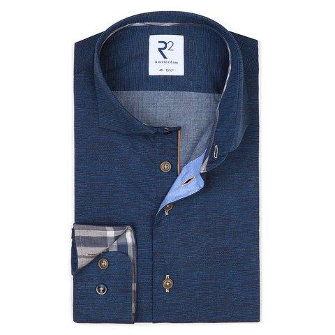 Donkerblauw 2 PLY katoenen overhemd