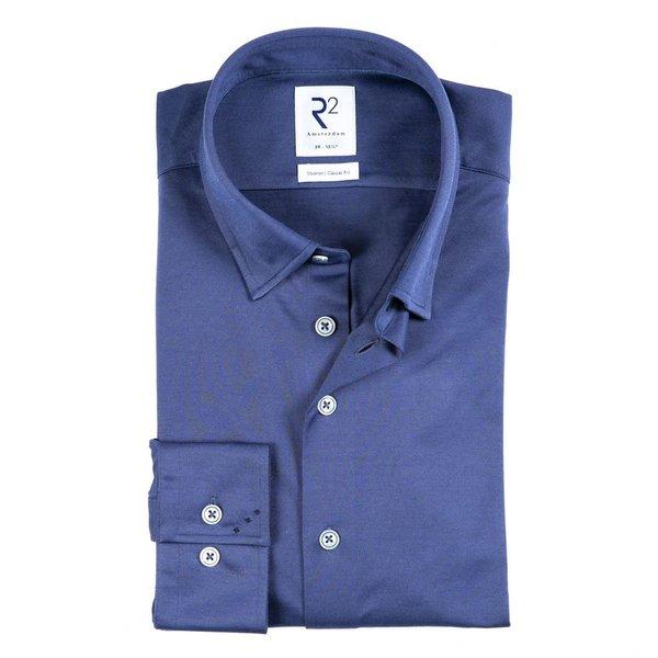 R2 Blauw knitted overhemd