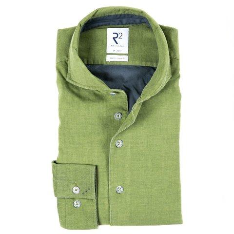 Groen fijn ribcord katoenen overhemd