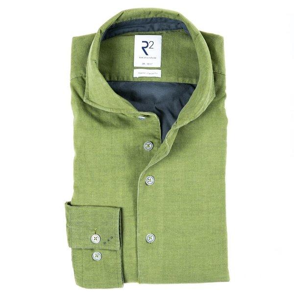R2 Groen fijn ribcord katoenen overhemd