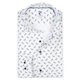 R2 White paisley print heavy twill 2-PLY cotton shirt