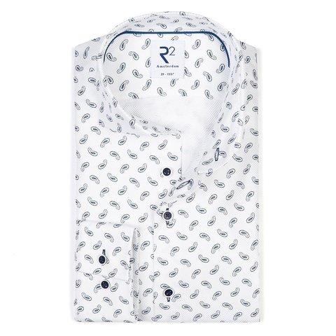 Wit paisley print heavy twill 2-PLY katoenen overhemd
