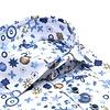 Wit fantasieprint 4-way stretch overhemd
