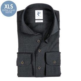 R2 Extra long sleeves. Grey 100% merino wool shirt