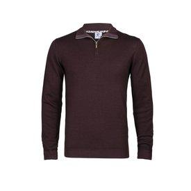 R2 Burgundy 100% Merino wool cardigan with zipper