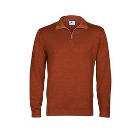 R2 Orange 100% Merino Wollpullover mit Reißverschluss