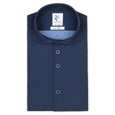 Donkerblauw 4-way stretch jersey overhemd