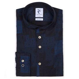 R2 Blue check jacquard cotton shirt