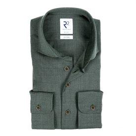 R2 Grün 100% Merino Wollhemd