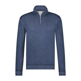 R2 Blau 100% Merino Wollpullover mit Reißverschluss