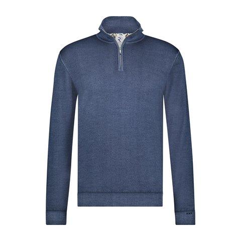 Blauw 100% merino wollen trui met rits