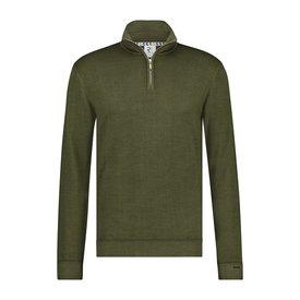 R2 Dark Green 100% Merino wool cardigan with zipper