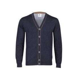 R2 Dark blue 100% wool cardigan