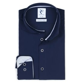 R2 Navy 4-way stretch strijkvrij overhemd.