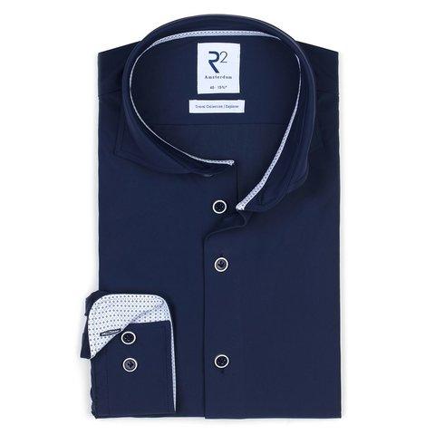 Navy 4-way stretch strijkvrij overhemd.
