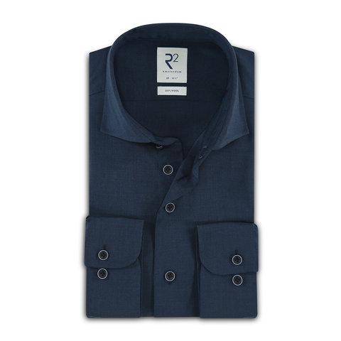 Donkerblauw 100% merino wollen overhemd