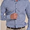 Wit stoeleprint dobby organic cotton stretch overhemd