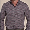 Zwart stippenprint dobby organic cotton-stretch overhemd
