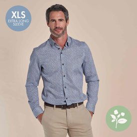 R2 Extra lange mouwen. Wit stoelenprint dobby organic cotton stretch overhemd