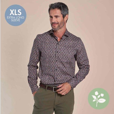 Extra lange mouwen. Rood stippenprint dobby stretch organic cotton overhemd