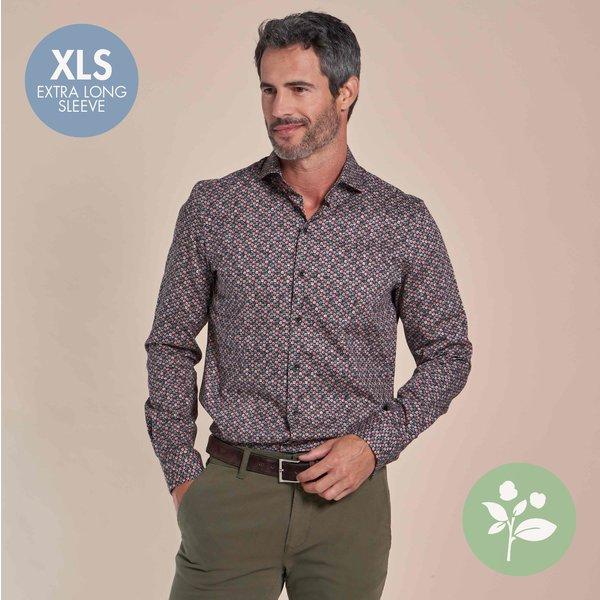 R2 Extra lange mouwen. Rood stippenprint dobby stretch organic cotton overhemd