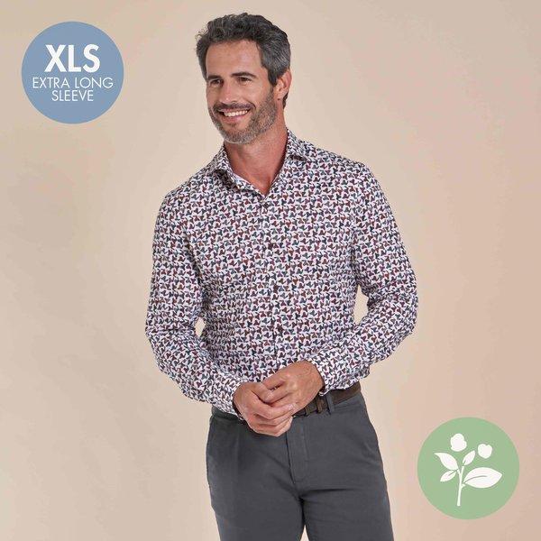 R2 Extra long sleeves. White chair print organic cotton shirt