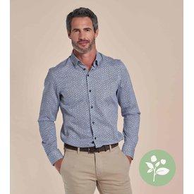 R2 Wit stoeleprint dobby organic cotton stretch overhemd