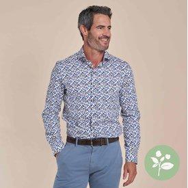 R2 Wit stoelenprint dobby organic cotton overhemd