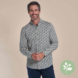 R2 Wit stoelenprint dobby organic cotton-stretch overhemd