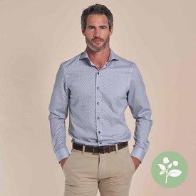 R2 Wit fantasieprint dobby organic cotton overhemd